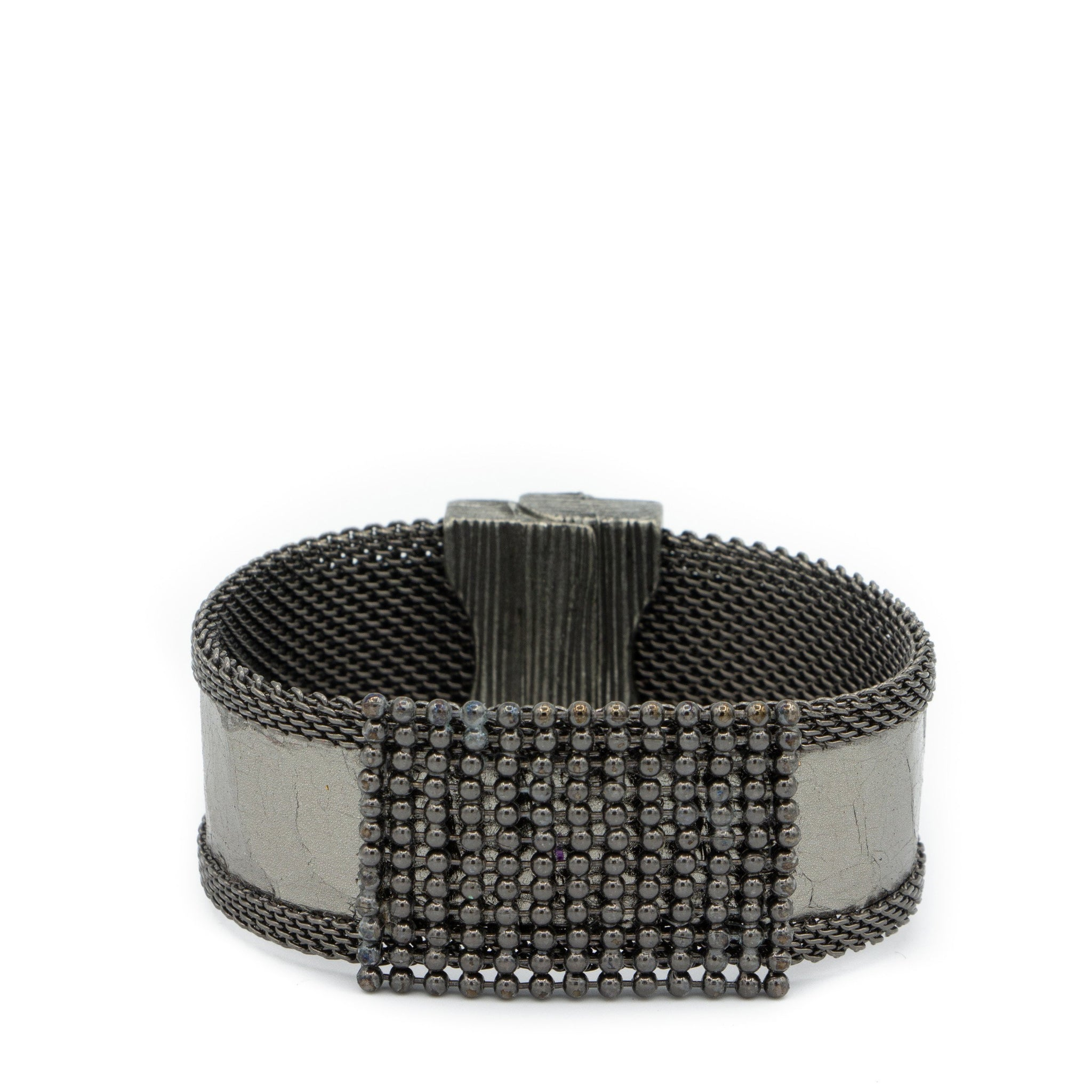dark snakeskin beaded cuff