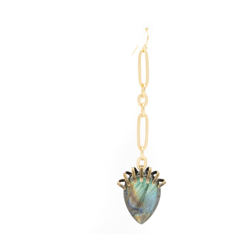 Single Labradorite & Chain Drop Earring