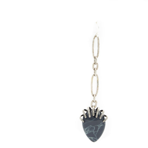 Single Striated Black Agate & Chain Drop Earring