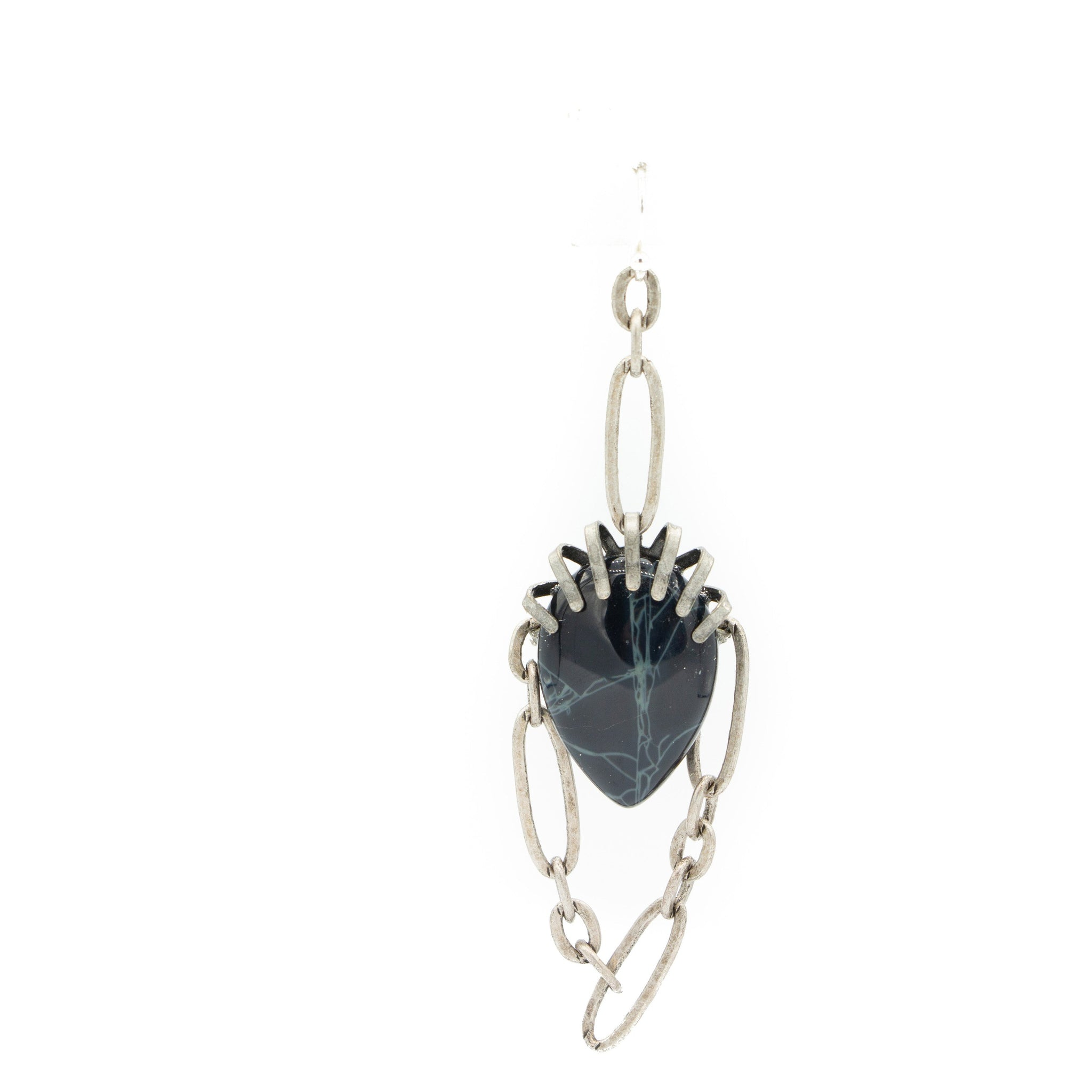 Single Striated Black Agate & Chain Earring