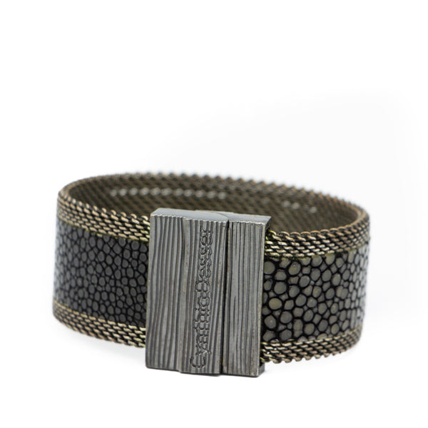 Polished Black Stingray Cuff