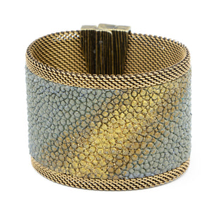 Grey Shimmer Stingray Cuff Gold Ombre Center