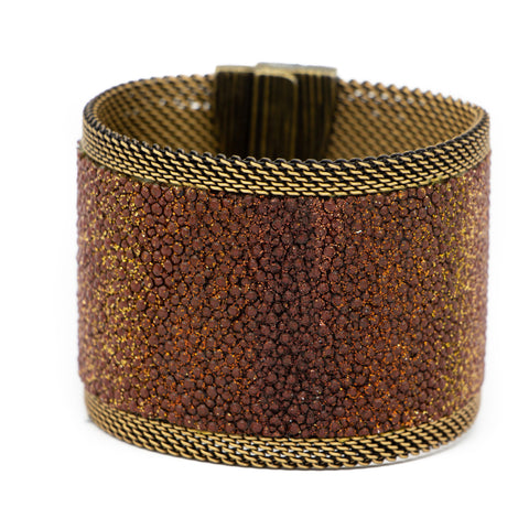 Brunished Browns Shimmer Stingray Cuff
