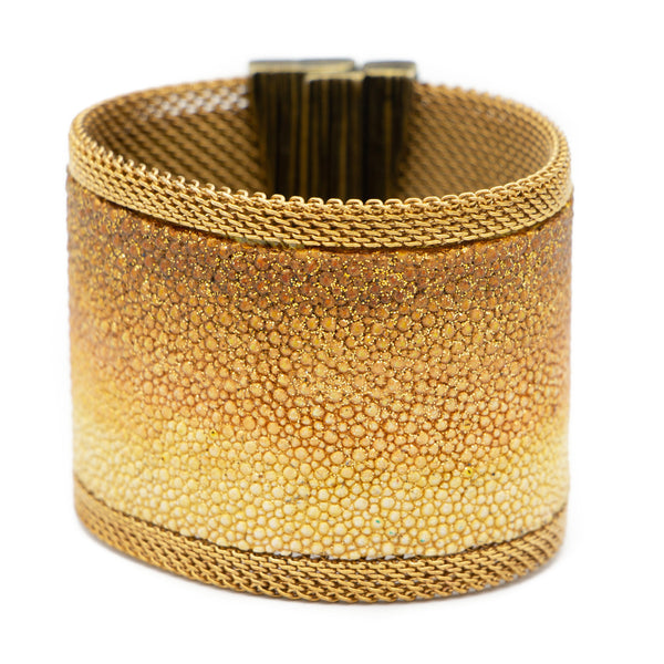 Gold & Chocolate Ombre Shimmer Stingray Cuff