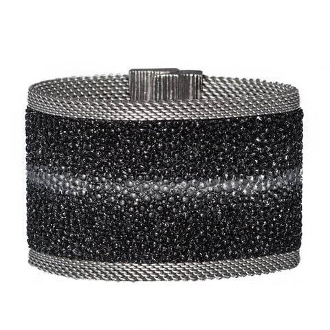Black Shimmer Stingray Cuff Pewter Stripe