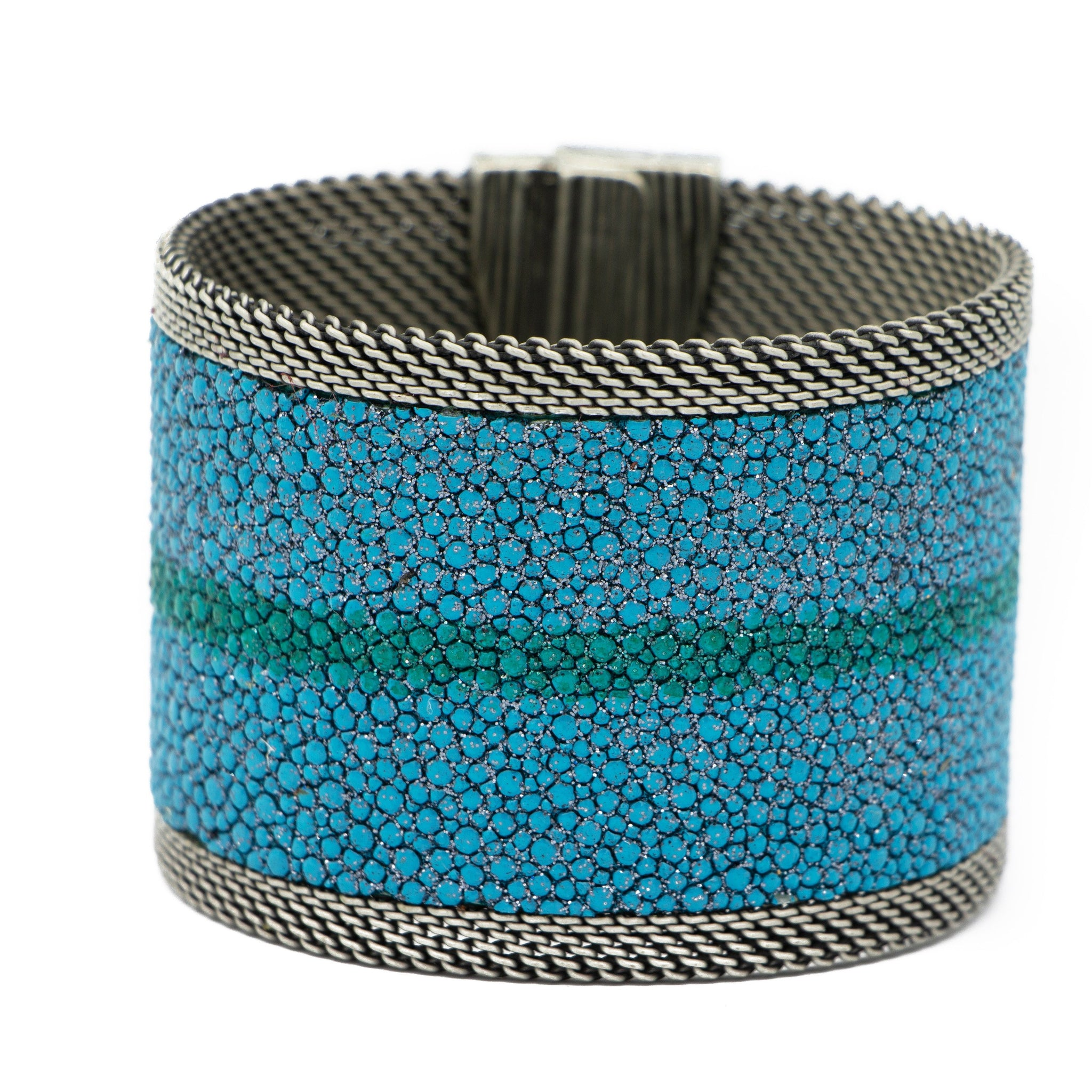 Teal Shimmer Stingray Cuff Jade Stripe