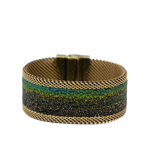 Tongal Greens & Gold Ombre Shimmer Stingray Cuff
