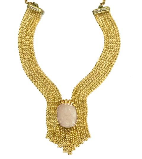 gold necklace peach moonstone