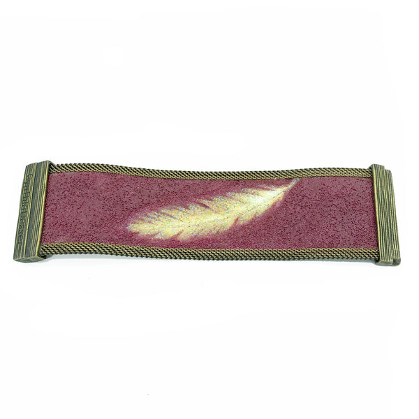 Shimmery Golden Feather/ Burgundy Wide Cuff