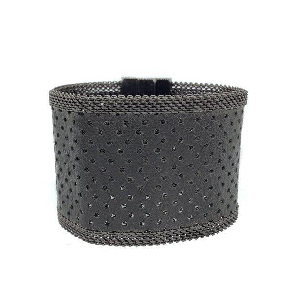 Men's Wide Black Perforated Leather Cuff