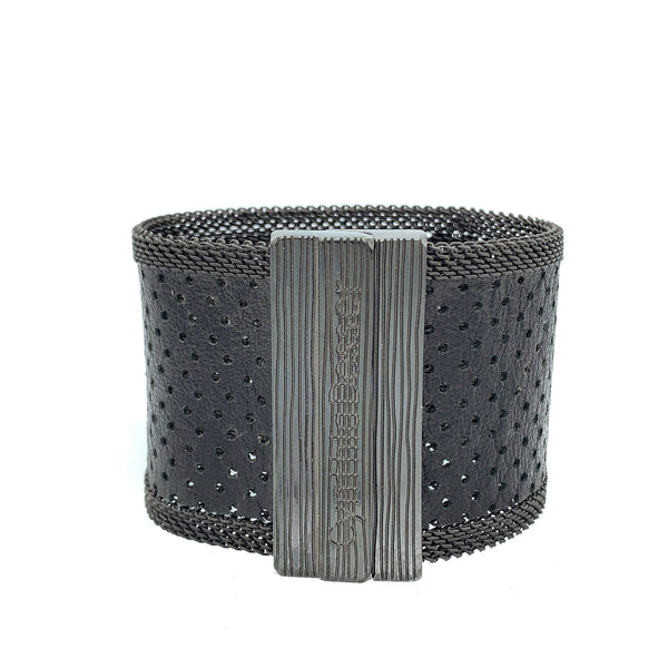 Wide Black Perforated Leather Cuff
