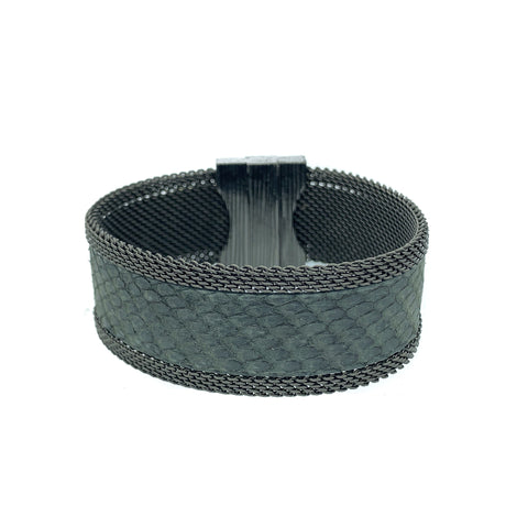 Narrow Grey Snakeskin Cuff