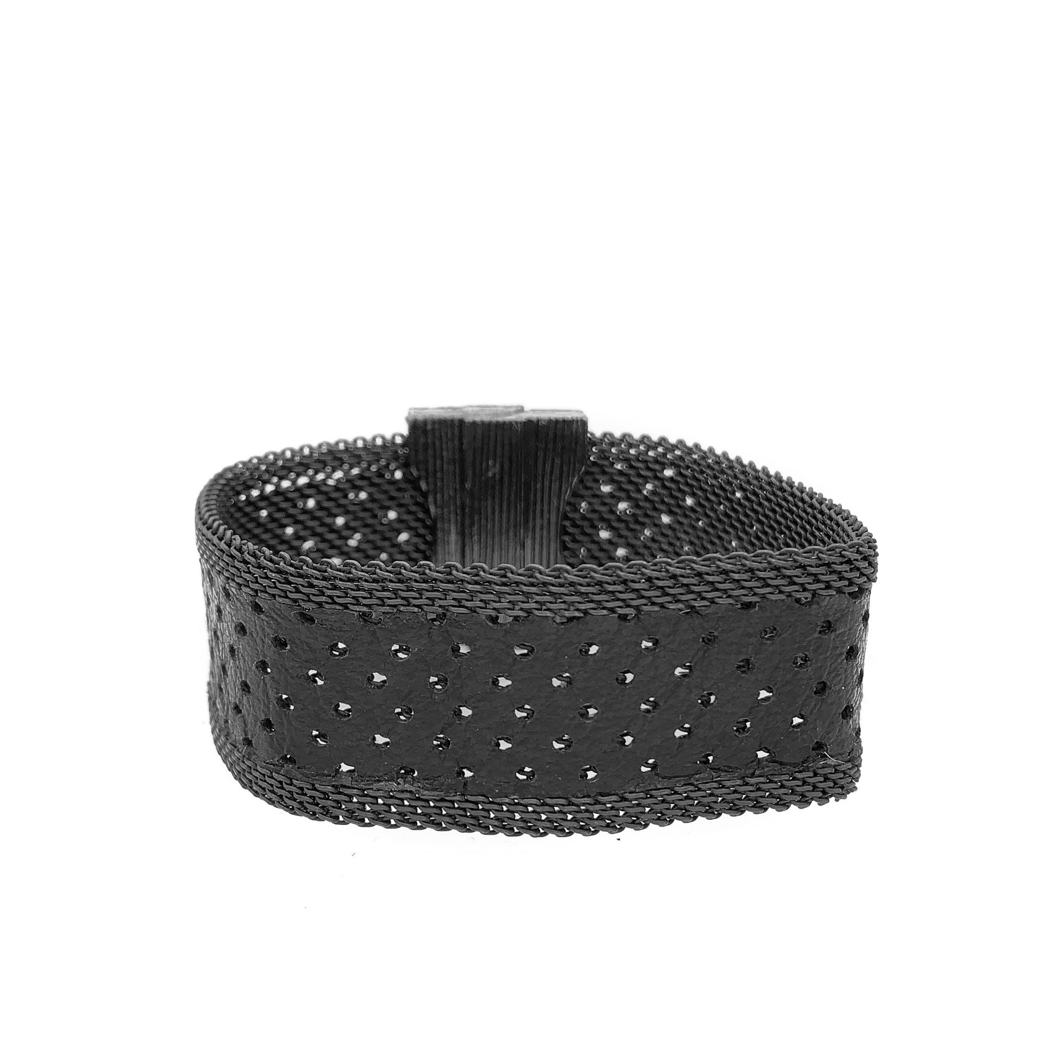 Men's Narrow Black Perforated Leather Cuff