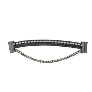 Men's Narrow Black Leather Cuff With Chain