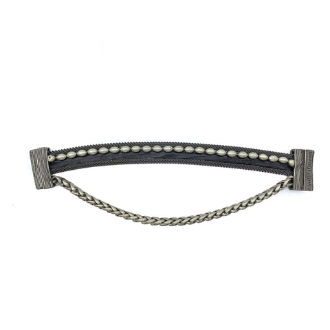 Narrow Black Leather Cuff With Chain