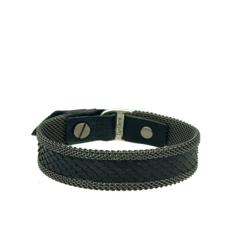 Men's Thin Black Snakeskin Bracelet