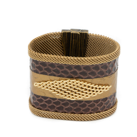 brown snakeskin chain cuff
