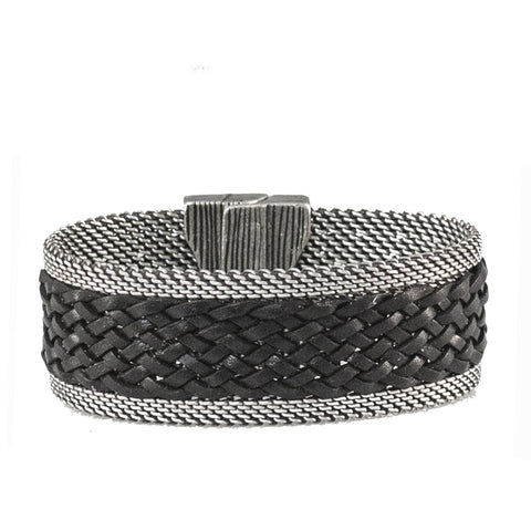 black leather braid bracelet