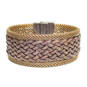 matte brown leather braid bracelet