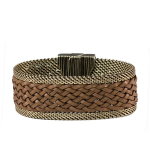 brown leather braid bracelet
