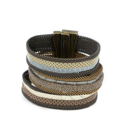 multistrand light triple snakeskin cuff