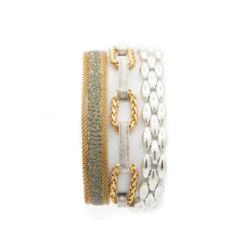 Grey & Gold Shimmer Stingray Triple Wrap Bracelet