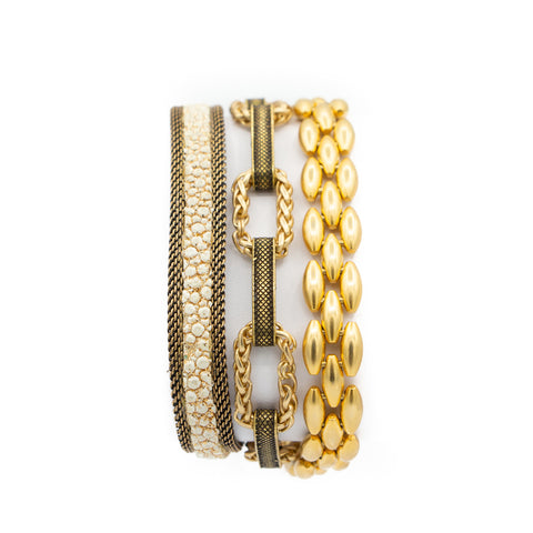 Bone Shimmer Stingray Triple Wrap Bracelet