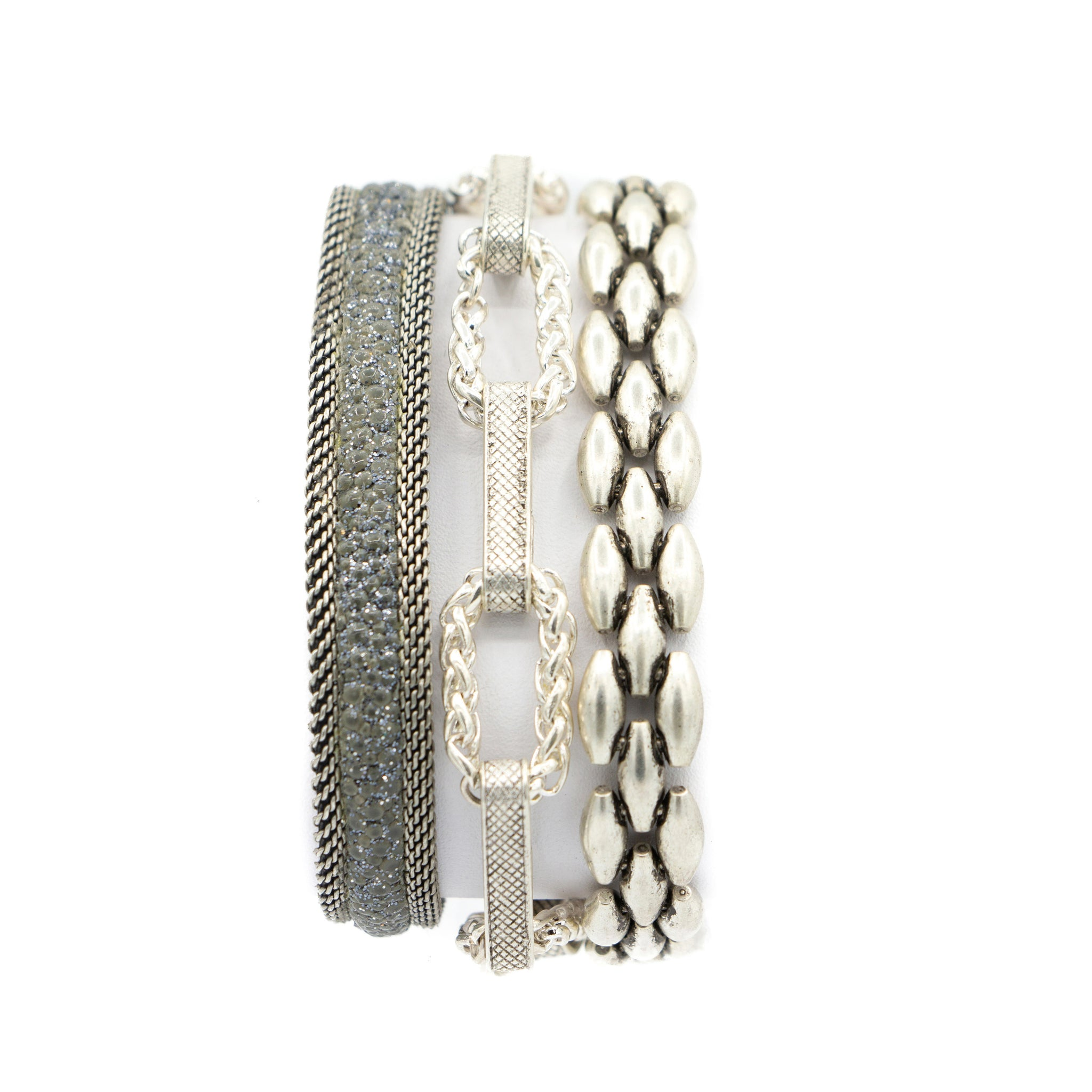 Grey Shimmer Stingray Triple Wrap Bracelet