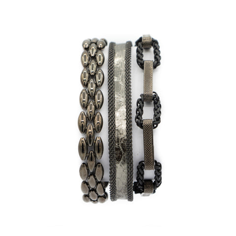 Pewter Snake Triple Wrap Bracelet