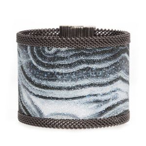 Swarovski Crystal Black Veined White Agate Cuff