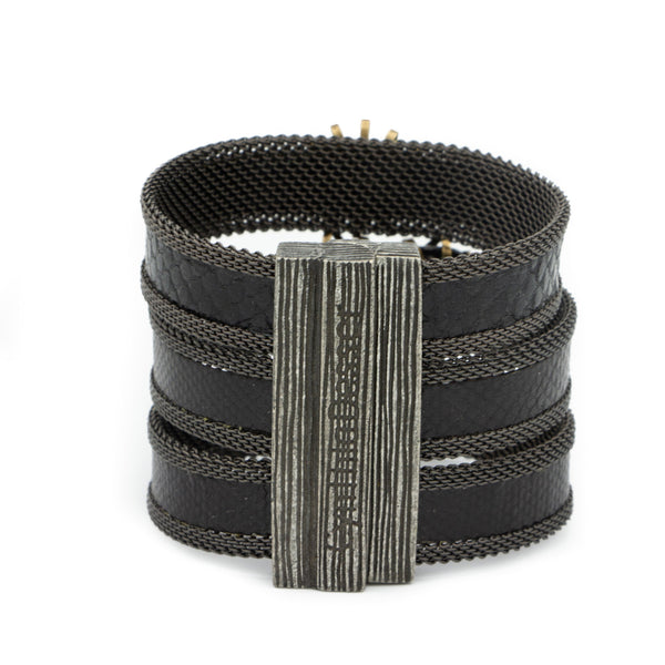 triple black snakeskin gem cuff
