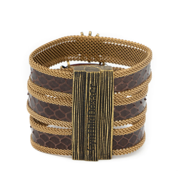 triple brown snakeskin gem cuff