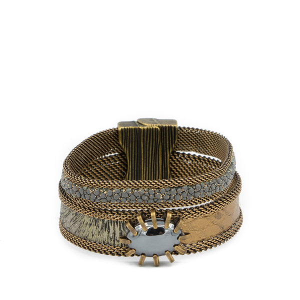 stingray snakeskin double gem cuff