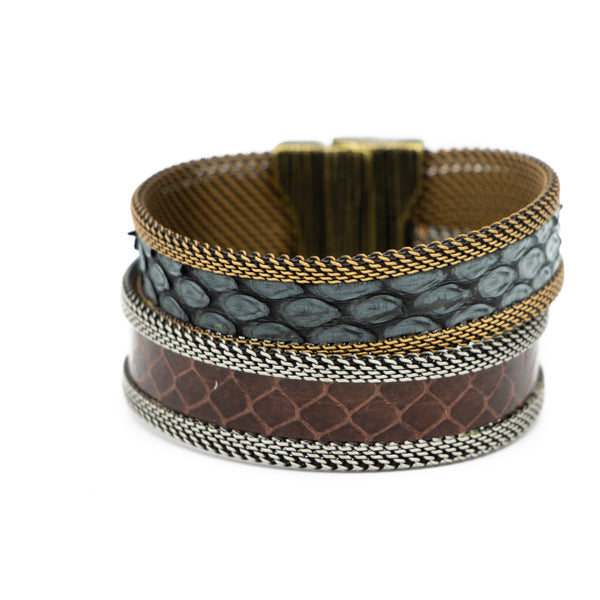 Brown/Grey Tonal Double Cuff