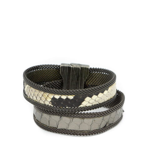 double natural silver snakeskin cuff