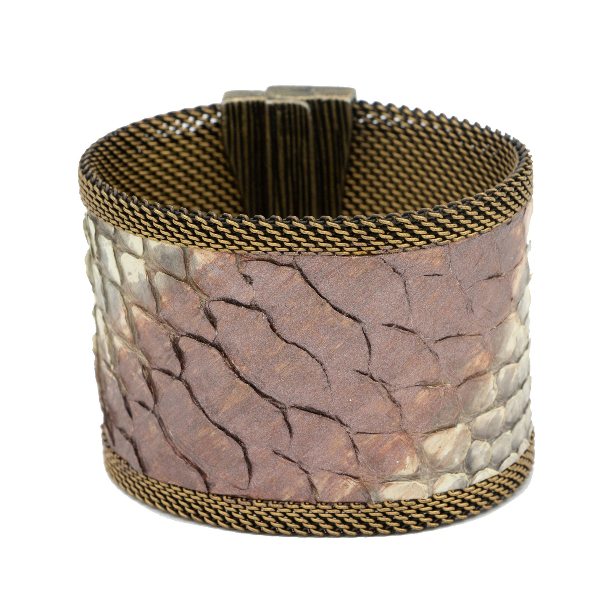 pink wash natural snakeskin cuff