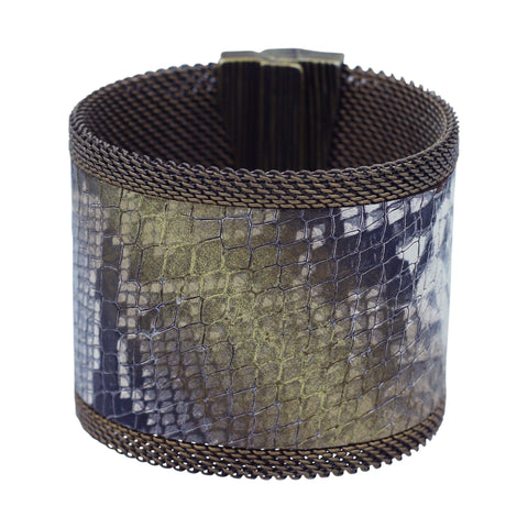 snakeskin print leather cuff
