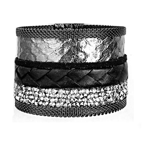 Pewter Snakeskin Mixed Cuff