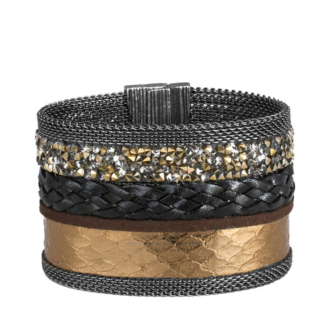 Deep Gold Snakeskin Mixed Cuff