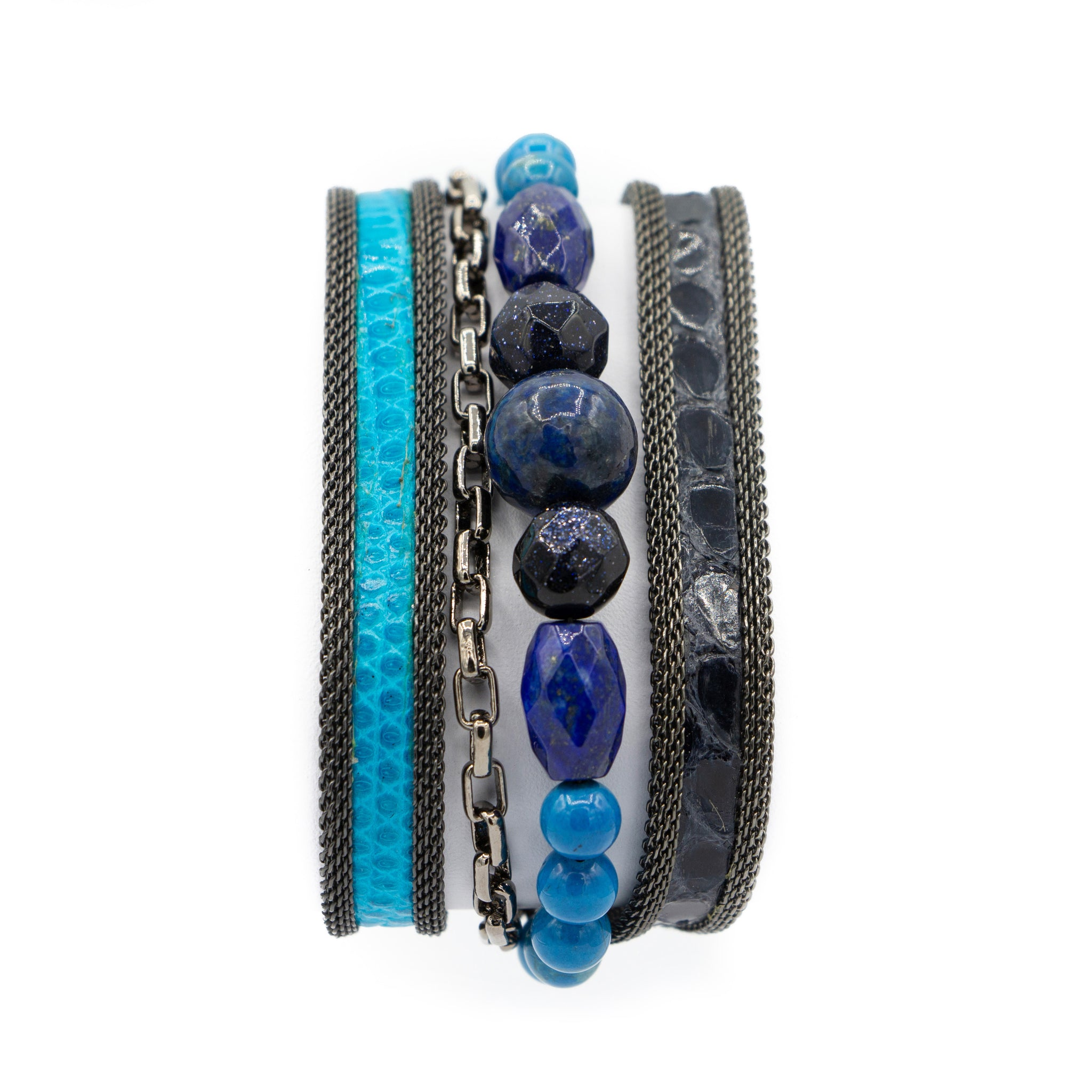 Blue Multi Snakeskin & Gemstone Triple Wrap Bracelet