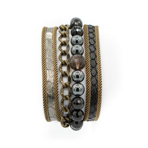 Grey Multi Snakeskin & Gemstone Triple Wrap Bracelet
