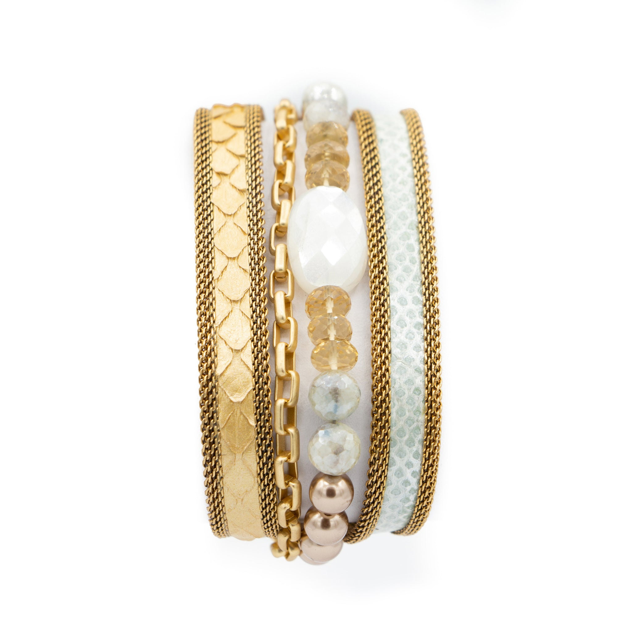 Gold Multi Snakeskin & Gemstone Triple Wrap Bracelet