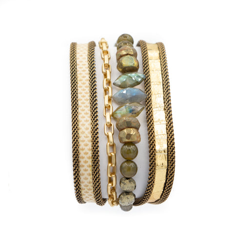 Bright Multi Snakeskin & Gemstone Triple Wrap Bracelet