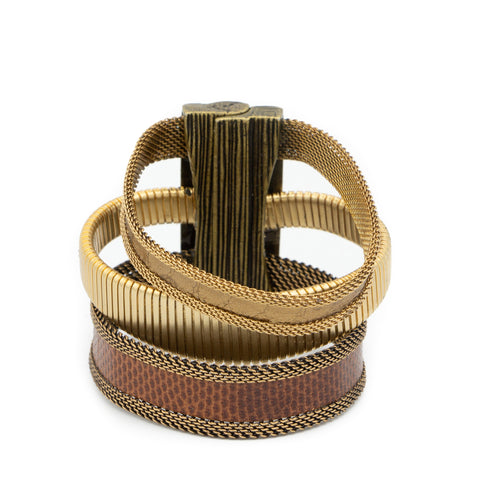 triple brown gold cuff
