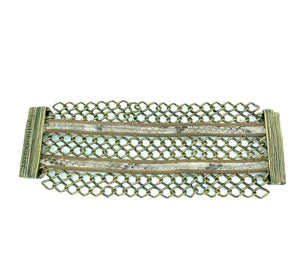 Extra Wide Woven Cuff with Natural Snake