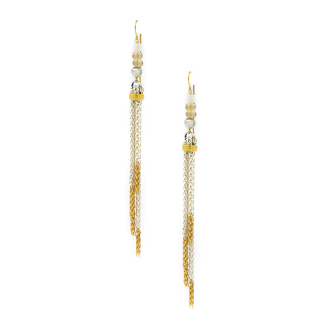 Citrine, Moonstone & Silverite 2 Tone Tassle Earrings