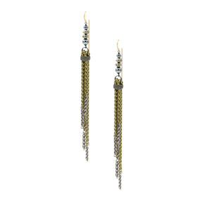 Pyrite & Hematite 2 Tone Tassle Earrings