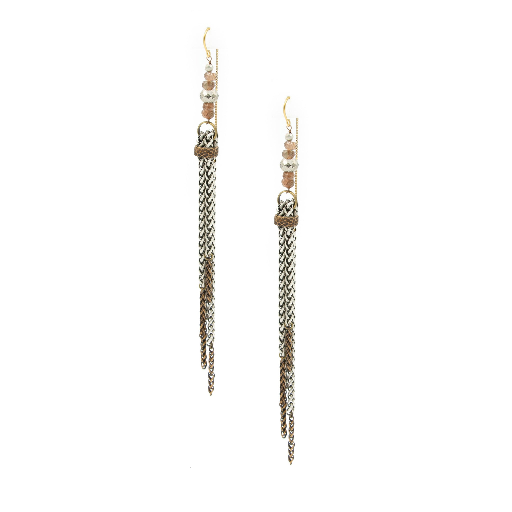 Andalusite & Silver Pyrite 2 Tone Tassle Earrings