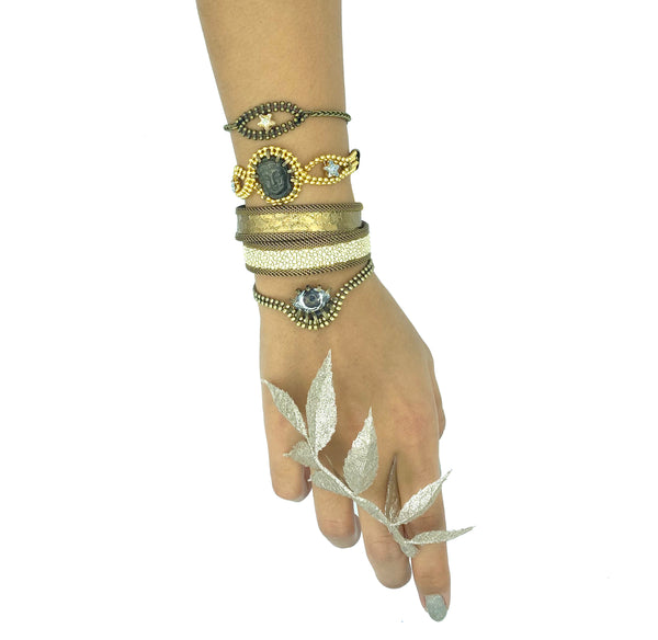 Double Deep Gold & Bone Cuff