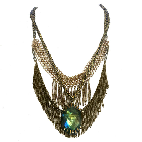 labradorite fringe bib necklace